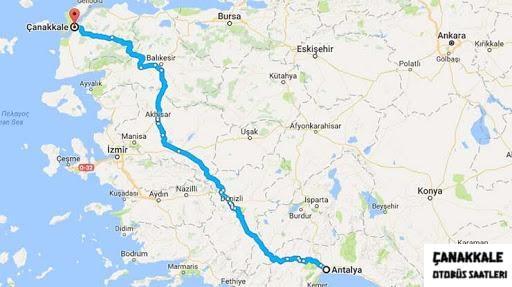 antalya'dan çanakkale kaç kilometre-1